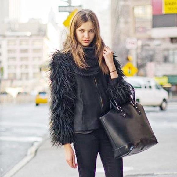 Zara Faux Fur Sleeve Jacket